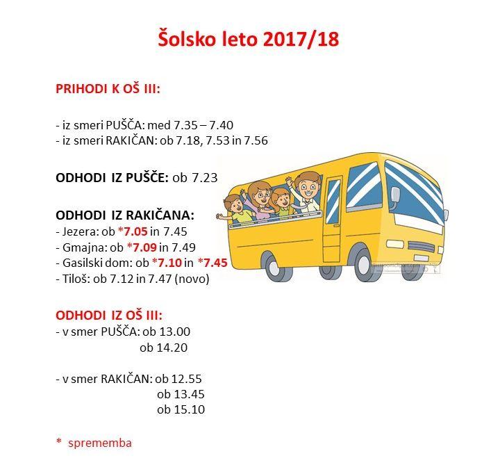 Vozni red avtobusov 2017/18