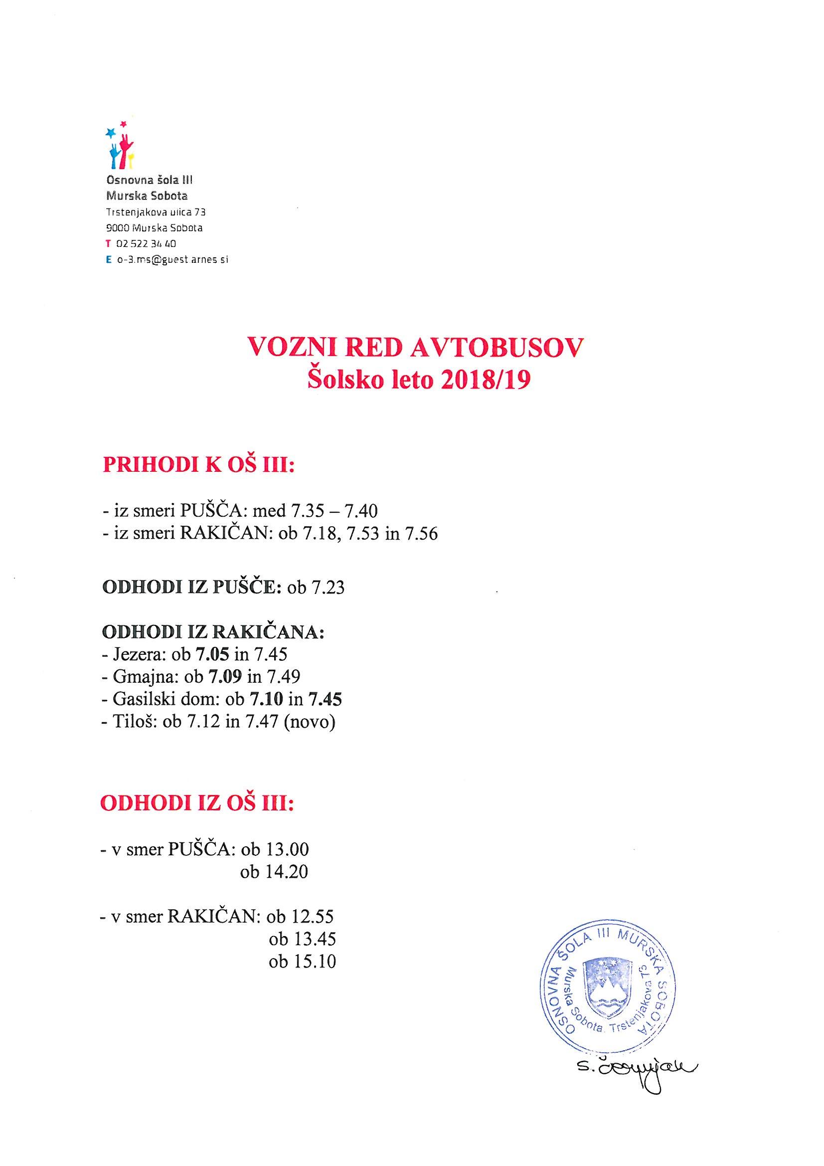 Vozni red avtobusov za š. l. 2018/19