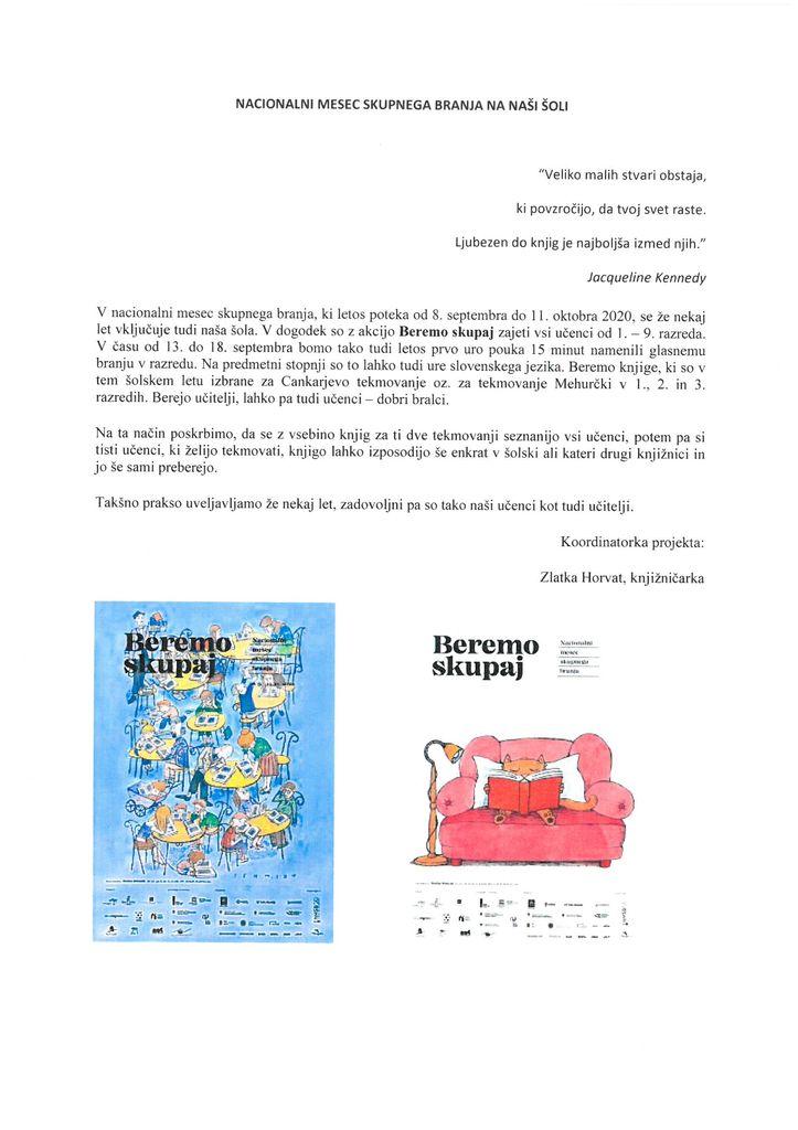 Nacionalni mesec skupnega branja na naši šoli